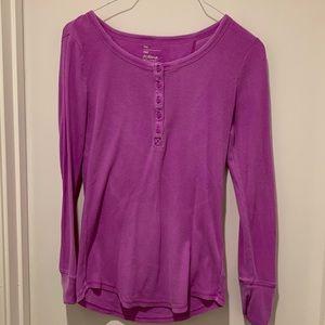 Gap Lilac Purple The Octavia Waffle Henley Tee